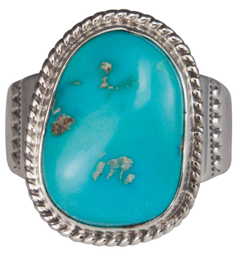 Navajo Native American Castle Dome Turquoise Ring Size 12 by Garcia SKU229602
