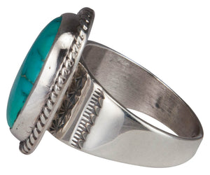 Navajo Native American Castle Dome Turquoise Ring Size 10 3/4 SKU229604