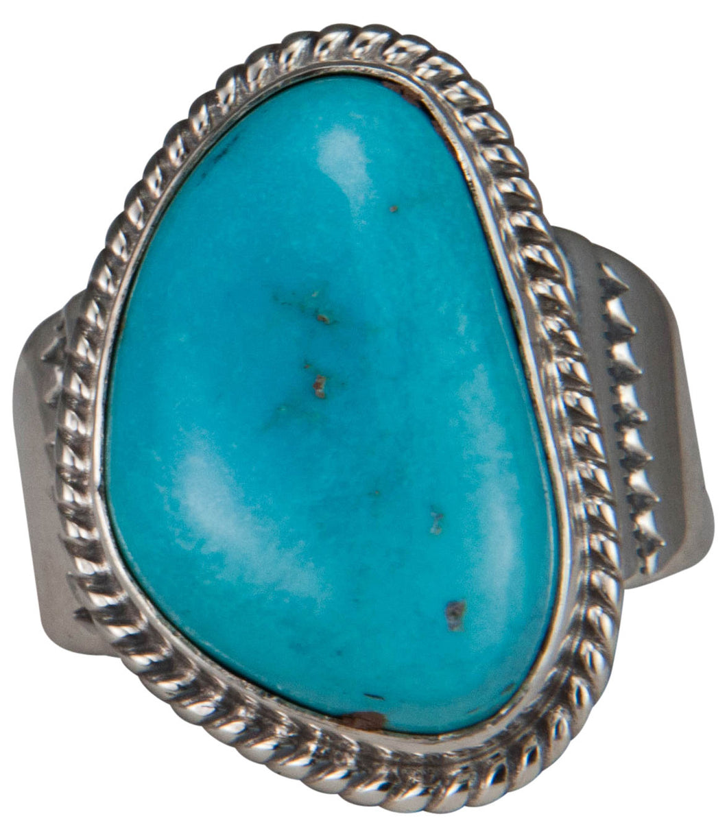 Navajo Native American Castle Dome Turquoise Ring Size 10 3/4 SKU229605