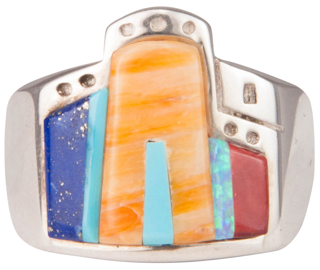 Navajo Native American Turquoise Pueblo Ring Size 10 1/2 by Yazzie SKU229727