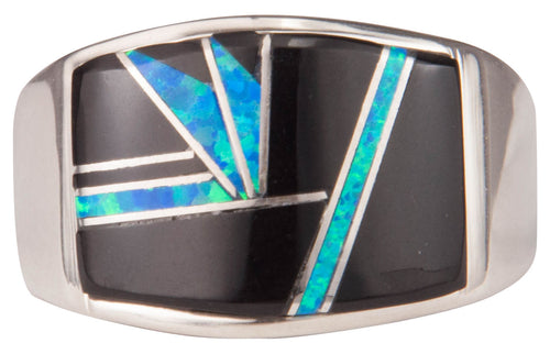 Navajo Native American Black Jade and Lab Opal Ring Size 12 by Joe SKU229732