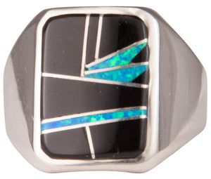 Navajo Native American Black Jade and Lab Opal Ring Size 11 3/4 SKU229733
