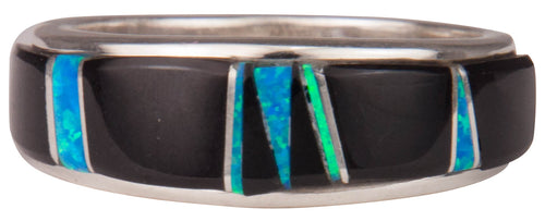 Navajo Native American Black Jade and Lab Opal Ring Size 11 3/4 SKU229734