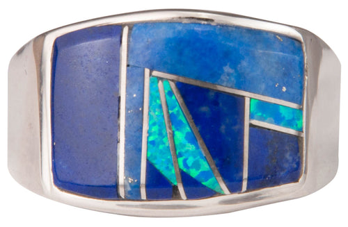 Navajo Native American Lapis and Lab Opal Ring Size 11 3/4 by Joe SKU229737