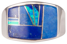 Load image into Gallery viewer, Navajo Native American Lapis and Lab Opal Ring Size 11 1/2 by Joe SKU229738