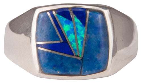 Navajo Native American Lapis and Lab Opal Ring Size 12 by Joe SKU229739