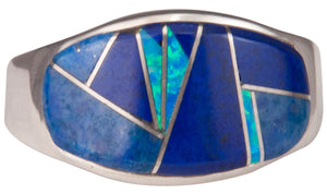 Navajo Native American Lapis and Lab Opal Ring Size 12 3/4 by Joe SKU229740