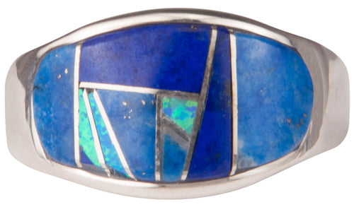 Navajo Native American Lapis and Lab Opal Ring Size 12 3/4 by Joe SKU229741