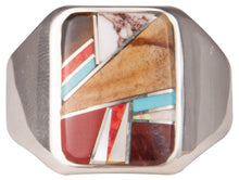 Load image into Gallery viewer, Navajo Native American Tiger Eye Turquoise Inlay Ring Size 13 1/4 SKU229743