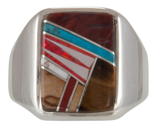 Navajo Native American Tiger Eye Turquoise Inlay Ring Size 11 1/2 SKU229744