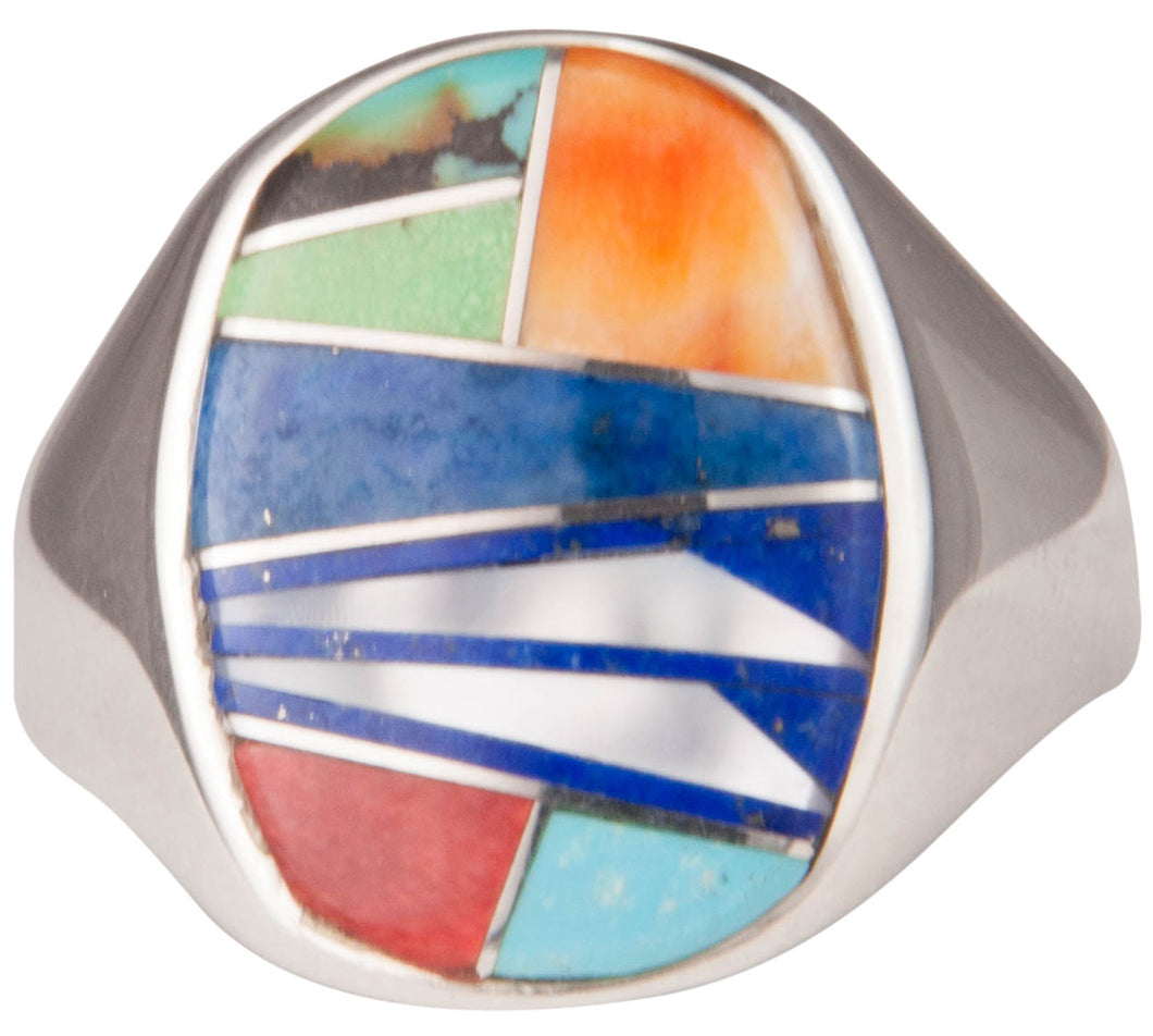 Navajo Native American Lapis and Turquoise Inlay Ring Size 11 1/2 SKU229746