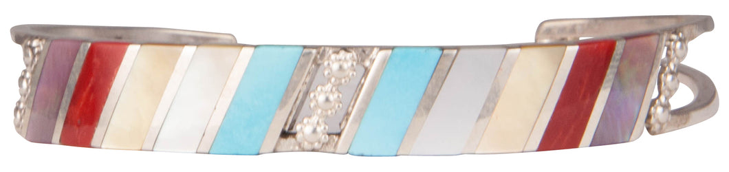 Zuni Native American Turquoise and Shell Inlay Bracelet by Sheyka SKU229756