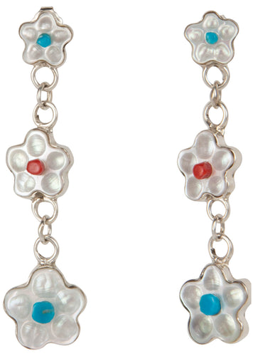Zuni Native American Mother of Pearl and Turquoise Earrings SKU229797