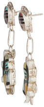 Load image into Gallery viewer, Zuni Native American Sunface and Kachina Turquoise Inlay Earrings SKU229798
