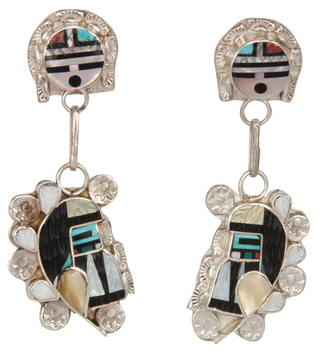 Zuni Native American Sunface and Kachina Turquoise Inlay Earrings SKU229798