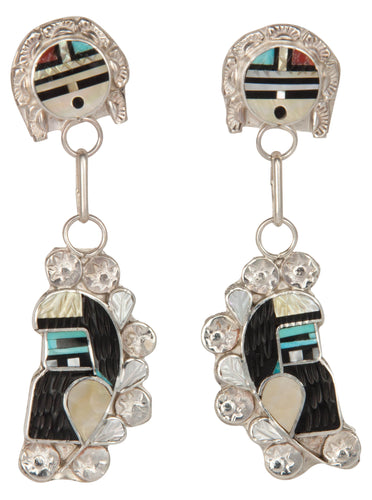 Zuni Native American Sunface and Kachina Turquoise Inlay Earrings SKU229799