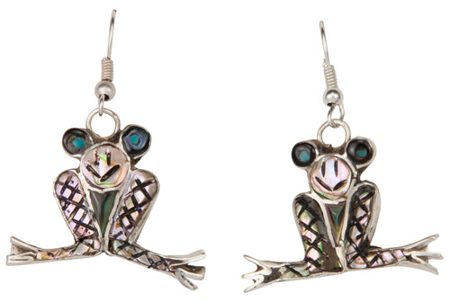 Zuni Native American Abalone Shell Frog Earrings by Valerie Comosona SKU229805