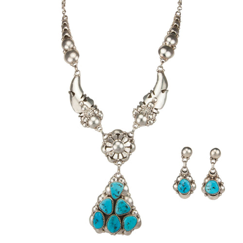 Navajo Native American Sleeping Beauty Turquoise Necklace Earrings SKU229822