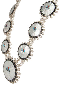 Zuni Native American Mother of Pearl Sunface Necklace by Sosseah SKU229827