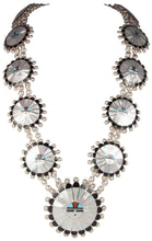 Load image into Gallery viewer, Zuni Native American Mother of Pearl Sunface Necklace by Sosseah SKU229827