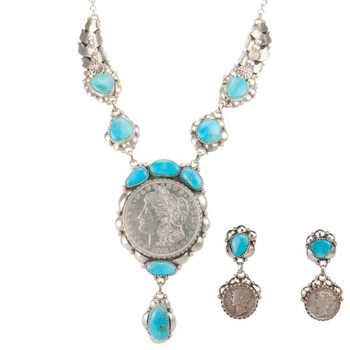 Navajo Native American Sleeping Beauty Turquoise Necklace Earrings SKU229832