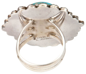 Navajo Native American Blue Ridge Turquoise Ring Size 8 3/4 SKU229860