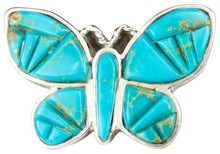 Load image into Gallery viewer, Navajo Native American Kingman Turquoise Butterfly Ring Size 6 3/4 SKU229861