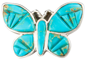 Navajo Native American Kingman Turquoise Butterfly Ring Size 6 3/4 SKU229861