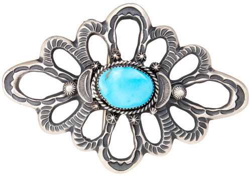 Navajo Native American Kingman Turquoise Sand Cast Belt Buckle SKU229876