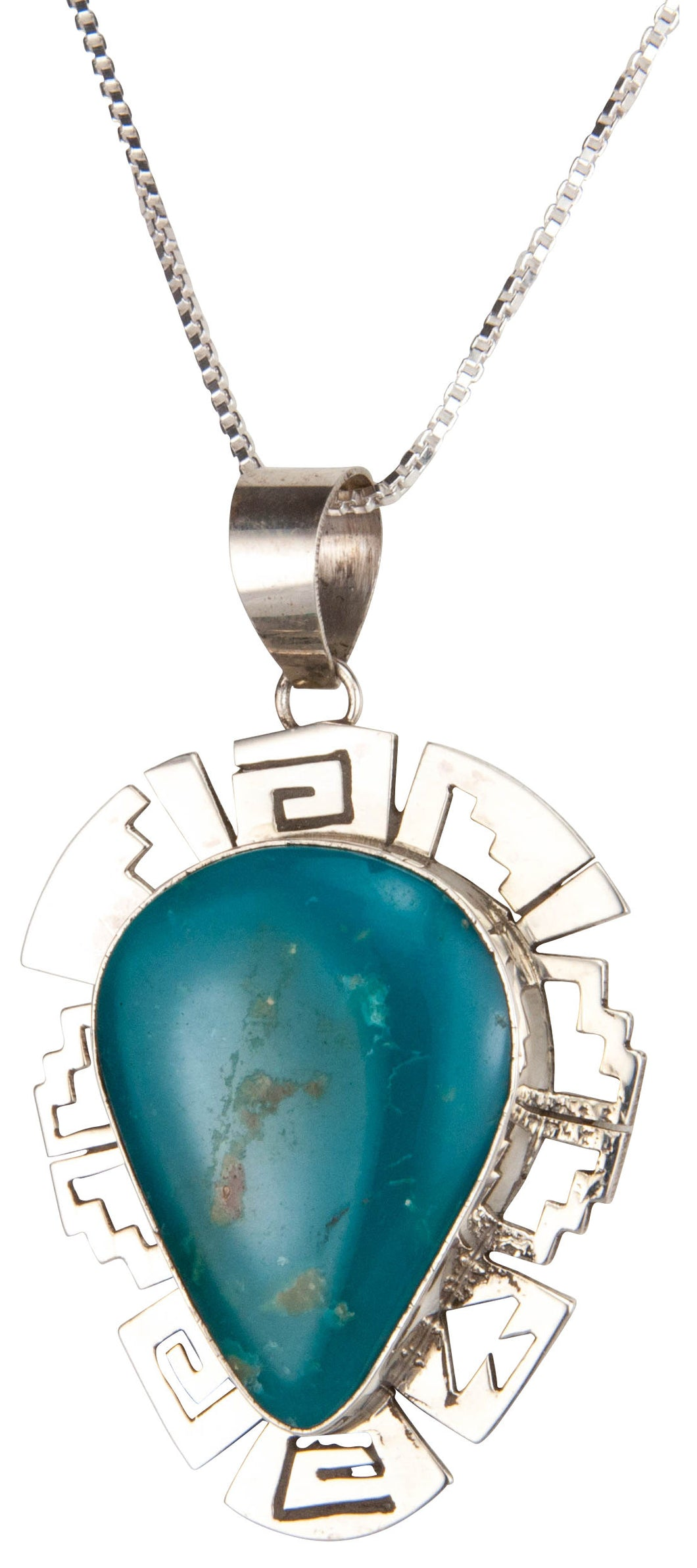 Navajo Native American Kingman Turquoise Pendant Necklace by Skeets SKU229889