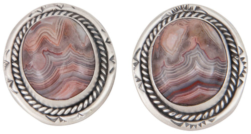 Navajo Native American Lace Agate Clip On Earrings by Martha Willeto SKU229906