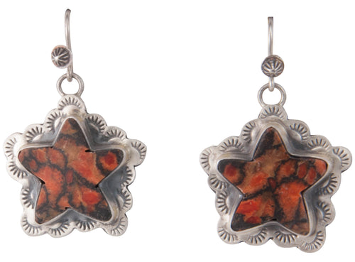 Navajo Native American Sponge Coral Star Earrings by Martha Willeto SKU229916