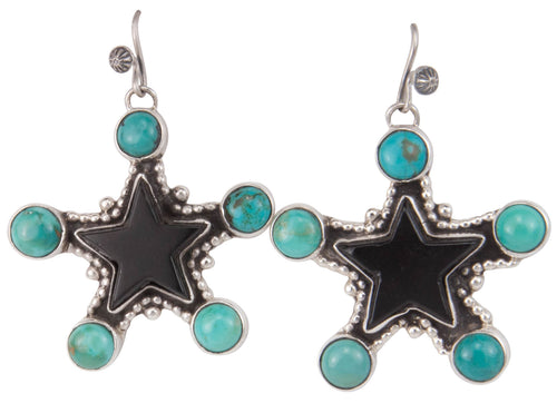 Navajo Native American Jet Star and Turquoise Earrings by Willeto SKU229917