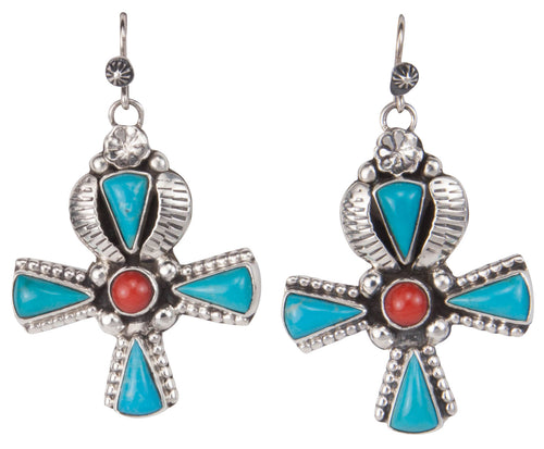 Navajo Native American Sleeping Beauty Turquoise and Coral Earrings SKU229920