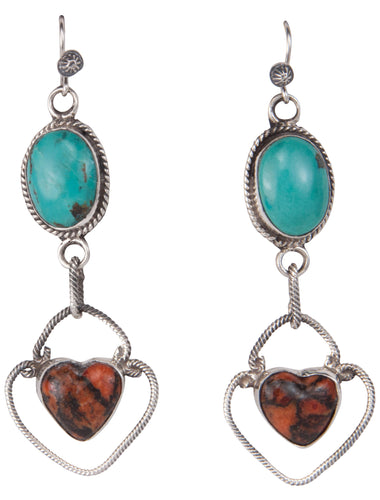 Navajo Native American Turquoise and Coral Earrings by Richard Jim SKU229923
