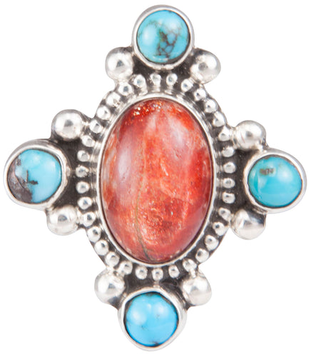 Navajo Native American Turquoise and Sunstone Ring Size 7 3/4 SKU229934