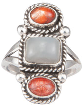 Load image into Gallery viewer, Navajo Native American Moonstone and Sunstone Ring Size 7 1/4 SKU229935
