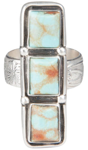 Navajo Native American Kingman Turquoise Ring Size 7 3/4 by Willeto SKU229937