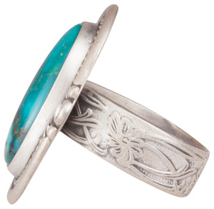Navajo Native American Kingman Turquoise Ring Size 8 1/2 by Willeto SKU229938