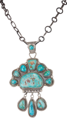 Navajo Native American Blue Gem Turquoise Pendant and Necklace SKU229944