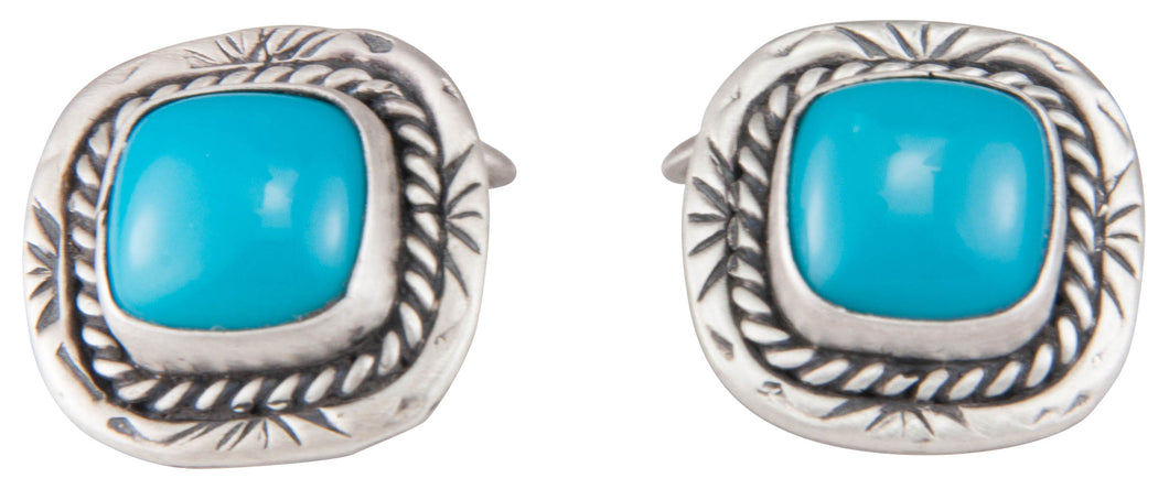 Navajo Native American Sleeping Beauty Turquoise Cuff Links SKU229949