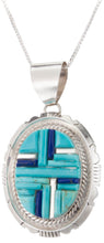 Load image into Gallery viewer, Navajo Native American Turquoise and Lapis Pendant Necklace by Dawes SKU229969