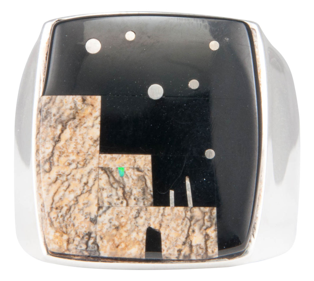 Navajo Native American Onyx and Jasper Pueblo Ring Size 11 3/4 SKU229971