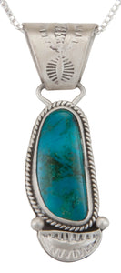 Navajo Native American Turquoise Mountain Pendant Necklace by Jim SKU229975