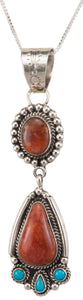 Navajo Native American Tangerine Chalcedony Pendant Necklace SKU230004