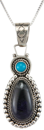 Navajo Native American Sugilite and Turquoise Pendant Necklace SKU230008