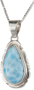 Navajo Native American Larimar Necklace Pendant by Jane Francisco SKU230019