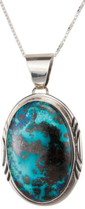Navajo Native American Chrysocolla Pendant Necklace by Francisco SKU230020
