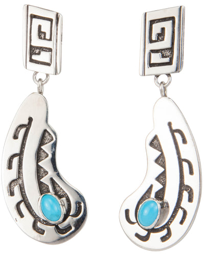 Navajo Native American Sleeping Beauty Turquoise Earrings by Wylie SKU230027