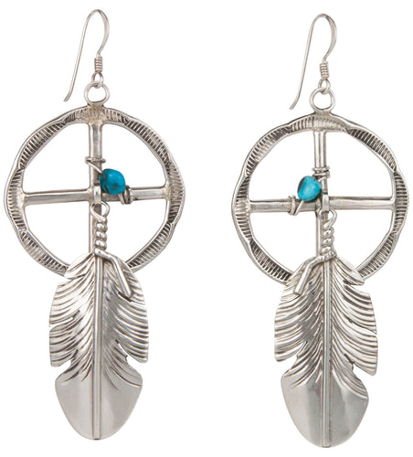 Navajo Native American Turquoise and Silver Feather Earrings SKU230039
